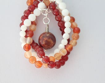 Carnelian, Mother of Pearl & Picasso Jasper Necklace