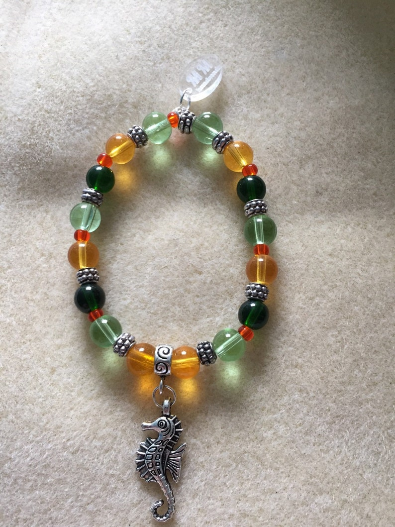 Yellow and Green Seahorse Charm Bracelet