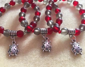Red and Grey Ladybug Charm Bracelet