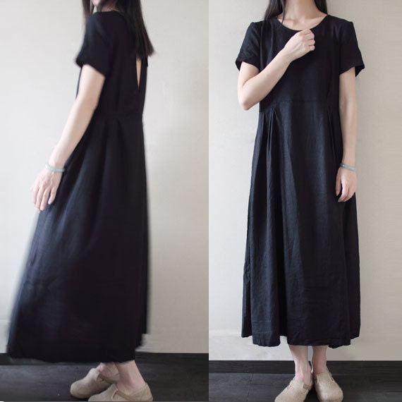 7a546e8c9296 Loose Fitting Long Maxi Dress Summer Dress in Blue Short