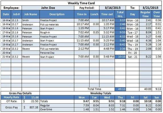 overtime calculation in excel format