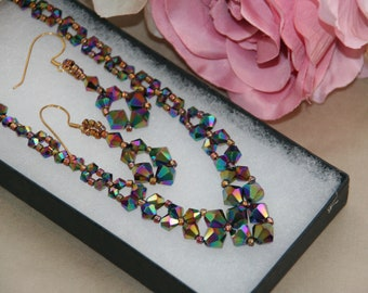 Vitrail crystal bicone necklace and earrings
