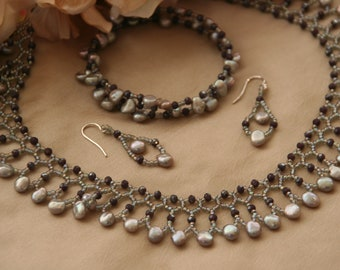 Grey pearl netted necklace and earrings with matching bracelet