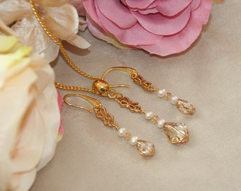 Golden crystal baroque necklace and earrings
