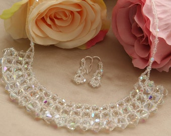 Crystal netted necklace and earrings