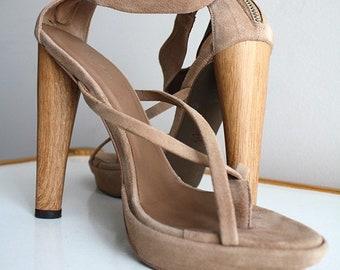 dd4386764 Vtg BCBG MAXAZRIA High Heel Sandals/Nude Suede Designer Heels/BCBGMaxAzria  Jasmin Suede Tan Leather Solid Heel Ankle Strap Party High Heels