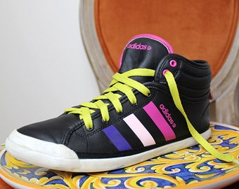44811cba08afb5 90s Vegan ADIDAS High Top Sneakers Colorful Joyful Black Pink Yellow  Clubbing Rave Gym Trainers Keds Lace up Street Wear Epic Footwear US6.5