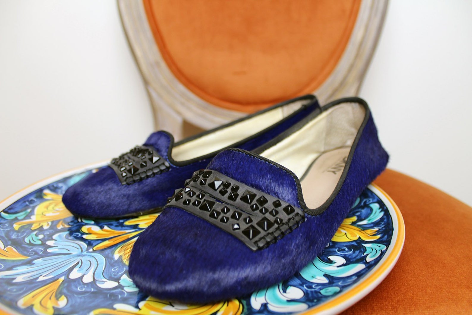 90s dkny designer flats/pony skin royal blue ballet flat shoes/embellished black studded flats/furry cowhide slip on unique mocc