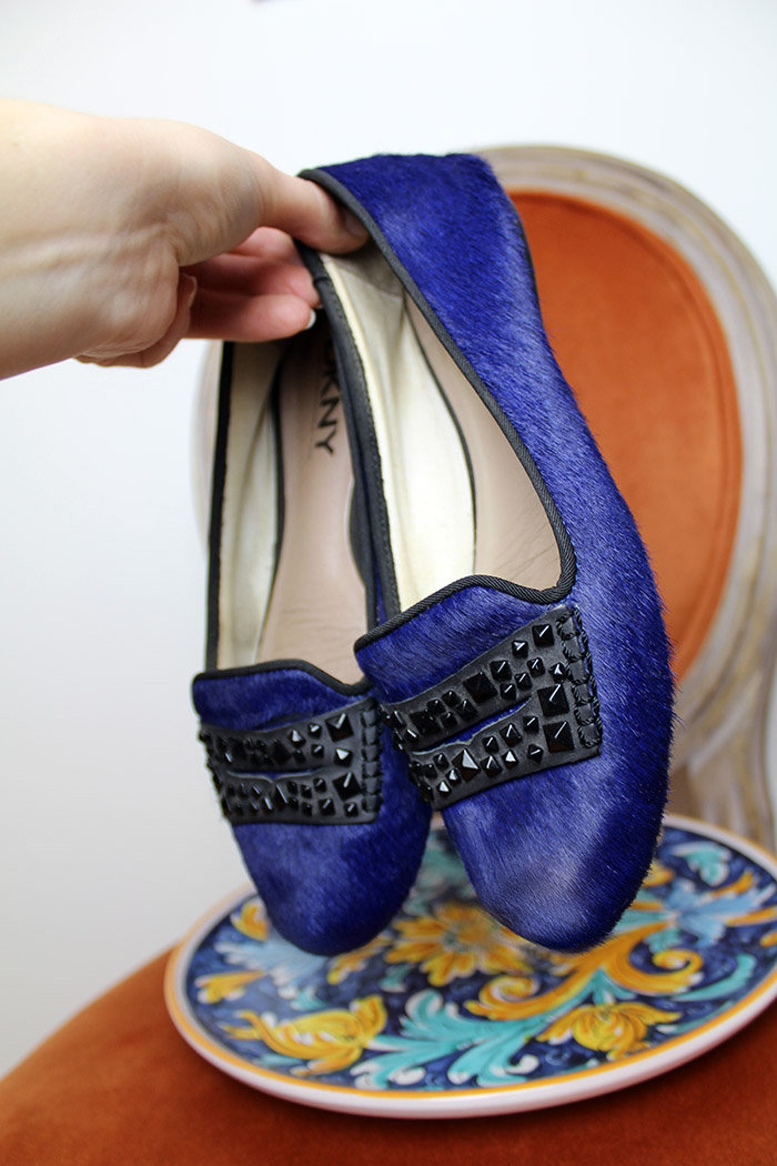 90s dkny designer flats/pony skin royal blue ballet flat shoes/embellished black studded flats/furry cowhide slip on unique mocc