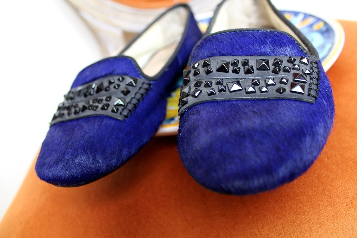 90s Dkny Designer Flats/pony Skin Royal Blue Ballet Flat - Big Sale ai7ok