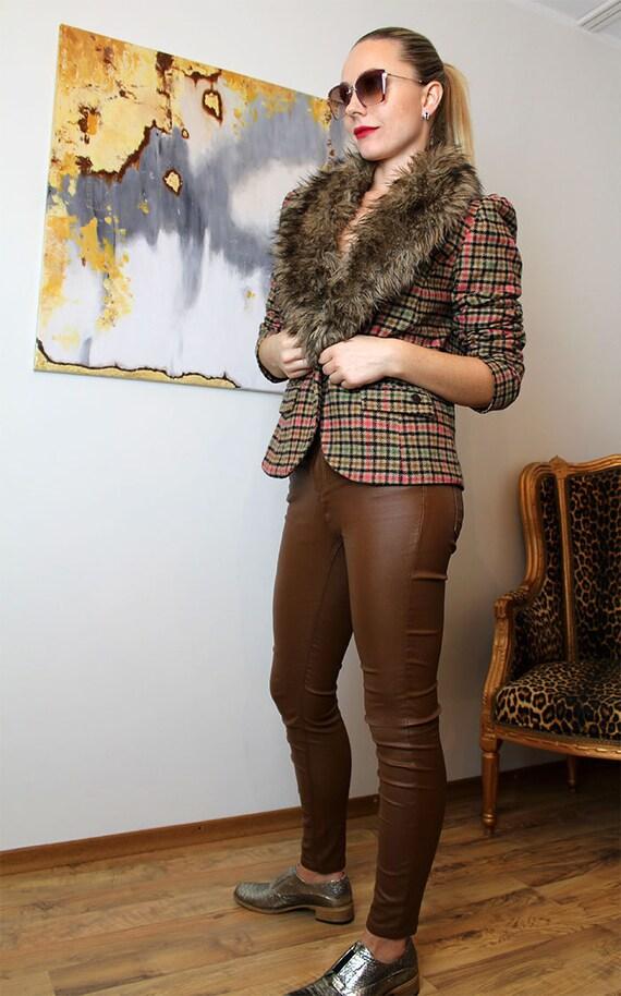 Vtg WOOL Designer Blazer/Plaid Woolen DEPT Jacket