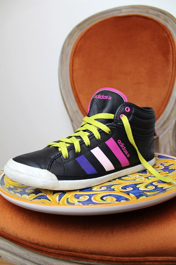 90s ADIDAS High Top VEGAN Sneakers Colorful Joyful Black Pink Yellow Clubbing Rave Gym Trainers Keds Lace up Street Wear Epic Footwear US6.5