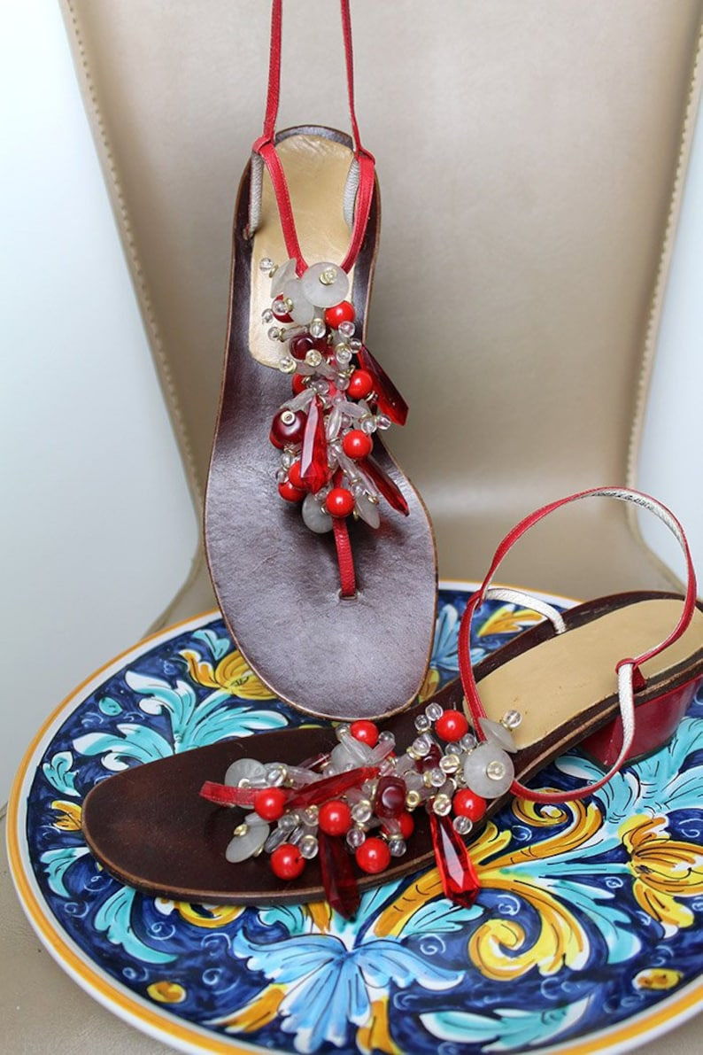 5e63a0c3b60 90s BEAD Leather Sandals/Red Crystal Cluster Adorned Starp Sandals/T strap  Red Gorgeous Low Heel Summer Flats/Strappy Summer Sandals US9