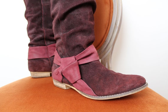 90s LEATHER Maroon Boots Wine Color Suede Leather