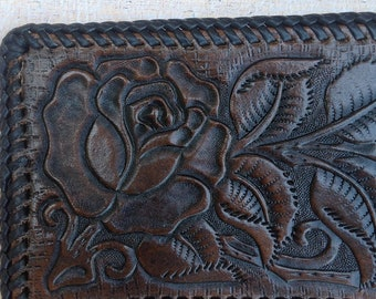 Hand tooled Rose pattern leather wallet