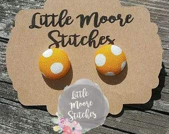 Orange & White Polka Dot Fabric Button Earrings