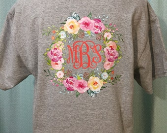 Amazing Monogram Floral Wreath T-Shirt done in Vibrant colors!