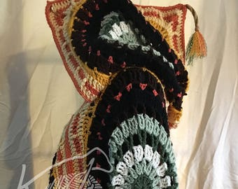 Bohemian Fringe Mandala Poncho -Autumn