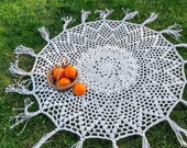 Hand crocheted round tablecloth with tassel, boho retro style cotton lace table cover, round table topper for home