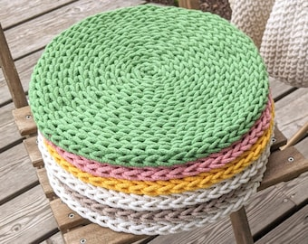 Round chair pads rustic rope Green Pink Grey White Yellow Orange - crochet recycled cotton braided seat cushions