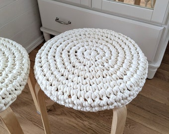 Round stool cover crochet recycled cotton - seat cushions chair pad