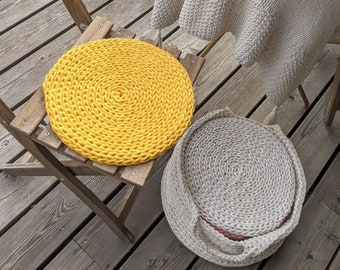 Round seat cushion Yellow braided rope - Recycled cotton deck seat cushions - chair pads yellow