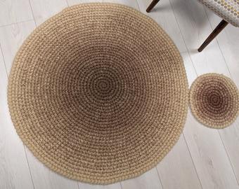 Round crochet wool rug Cappuccino - crochet wool felt natural brown ombre rug - Bedroom rug home decor wool carpet