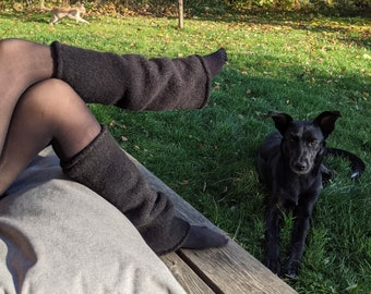 Black leg warmers  wool felted - Knit felt leg warmers womens 100% wool