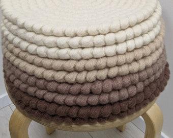 Wool felt Round chair pads Caffe Latte - crochet natural wool felt seat cushions
