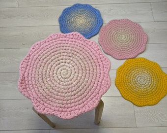 Wool felt Round chair pads Blossom Blue Pink Yellow - crochet natural wool felt seat cushions