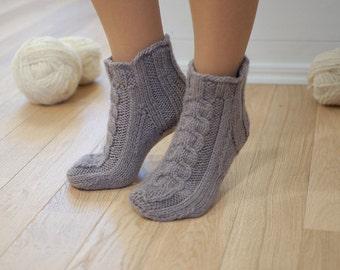 40b92974584cc0 Knit woolen slipper socks natural gray - 100% organic wool slippers hand  knitted