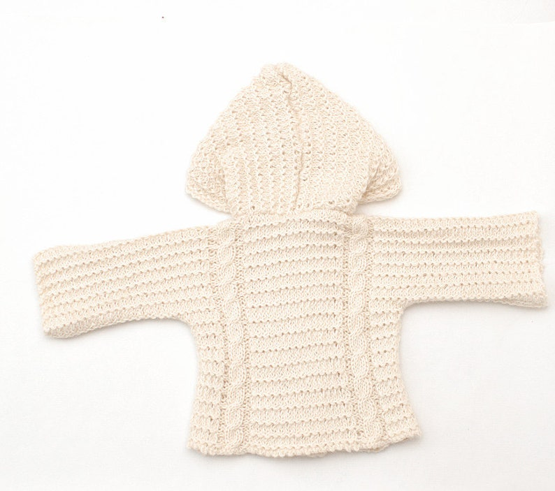 7d80cbf4b0a2 Baby Alpaca hooded cable knit cardigan Hand knit Baby Coat