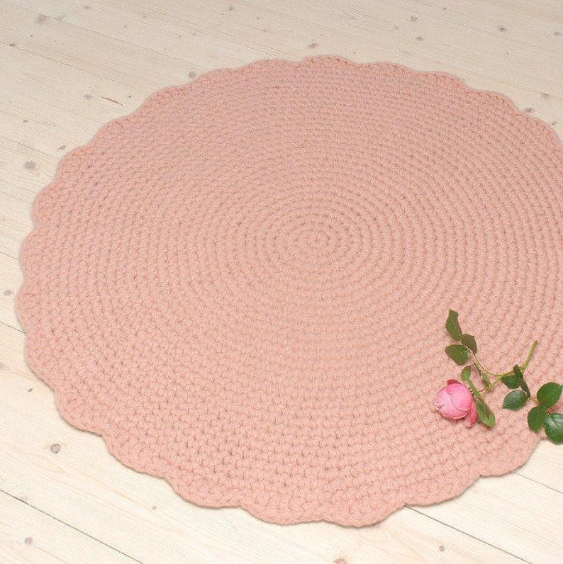Rosa Teppich Runden häkeln Wolle Teppich Kinderzimmer | Etsy