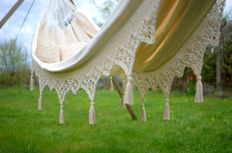 Lace hammock with tassels and pillow case  Boho garden double image 0