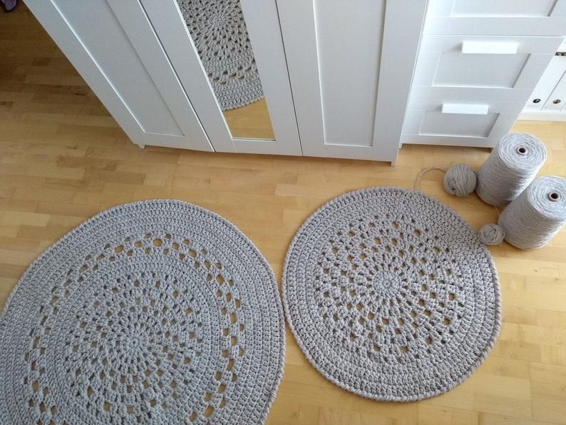 Grey round crochet rug wool felt  Oversized retro doily rug  image 0