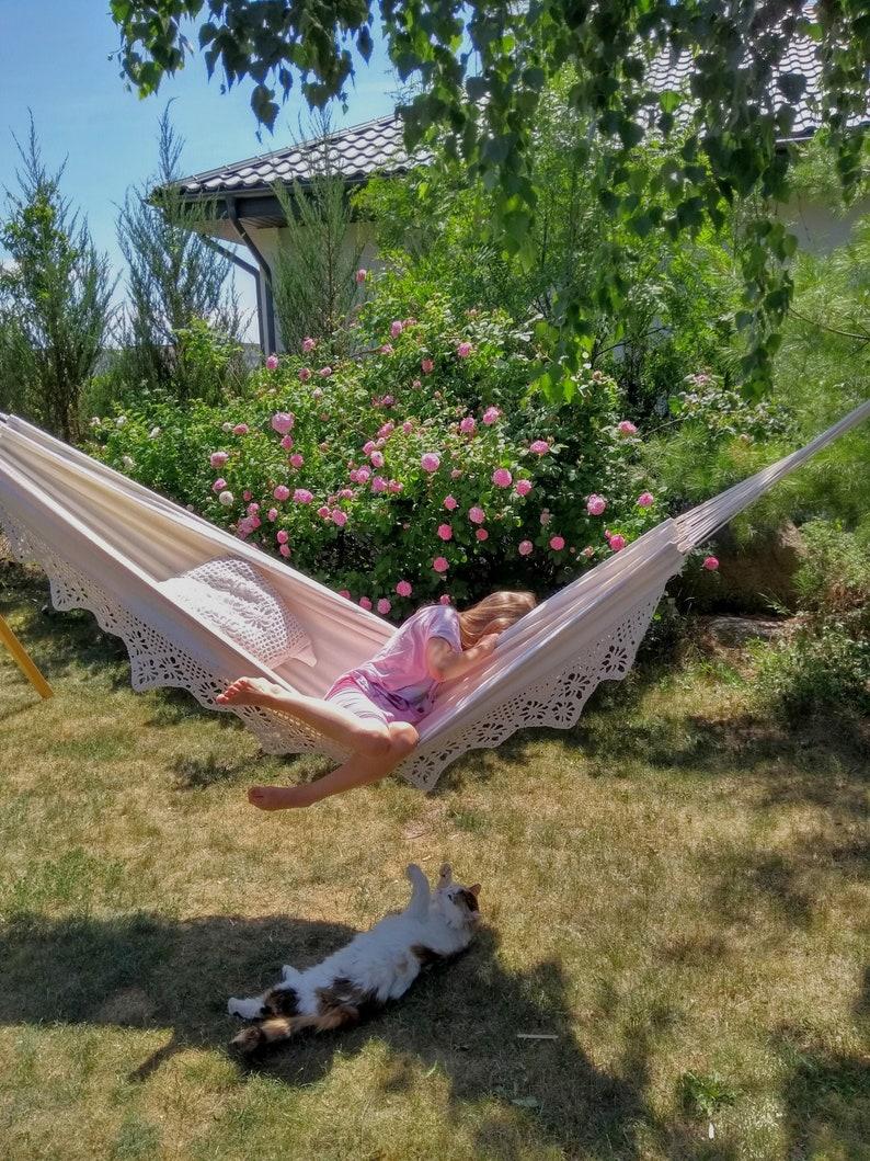 Lace hammock natural white cotton  Boho garden hammock with image 0
