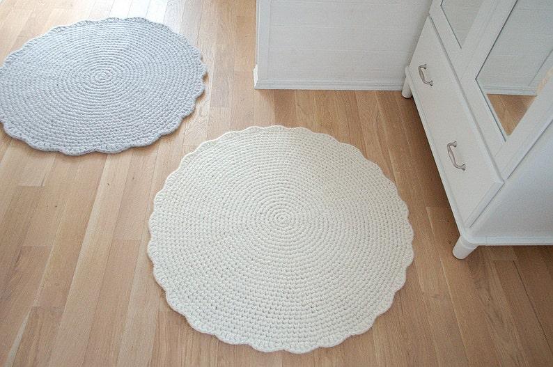 Round Rug Wool carpet  Crochet Rug wool carpet Cream White  image 0