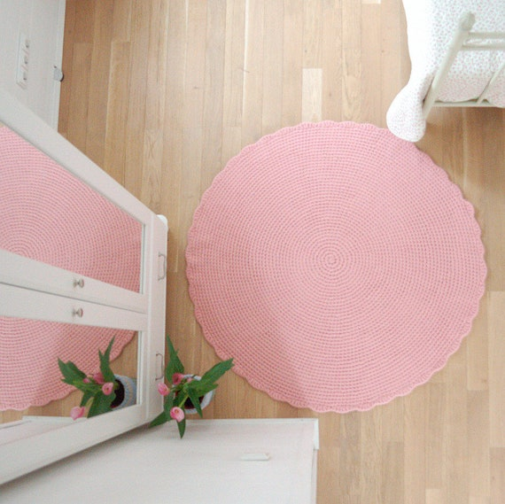 Runder Teppich-Baby-Rosa häkeln Wolle Teppich gefilzt | Etsy
