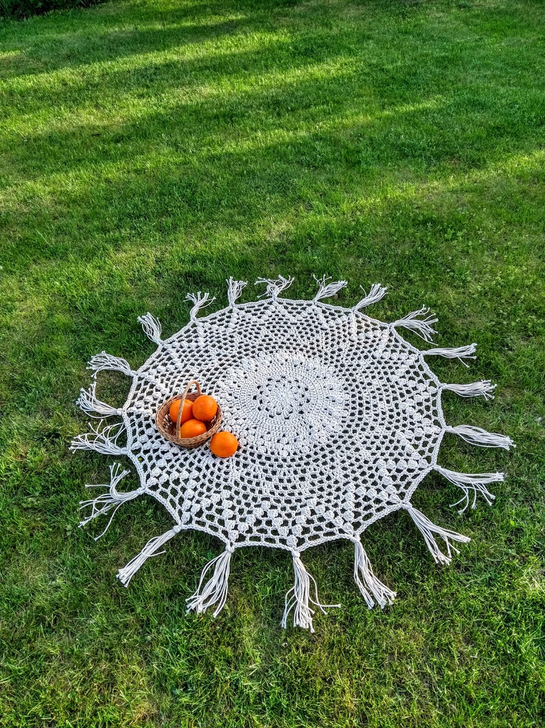 Hand crocheted round tablecloth with tassel boho retro style image 0