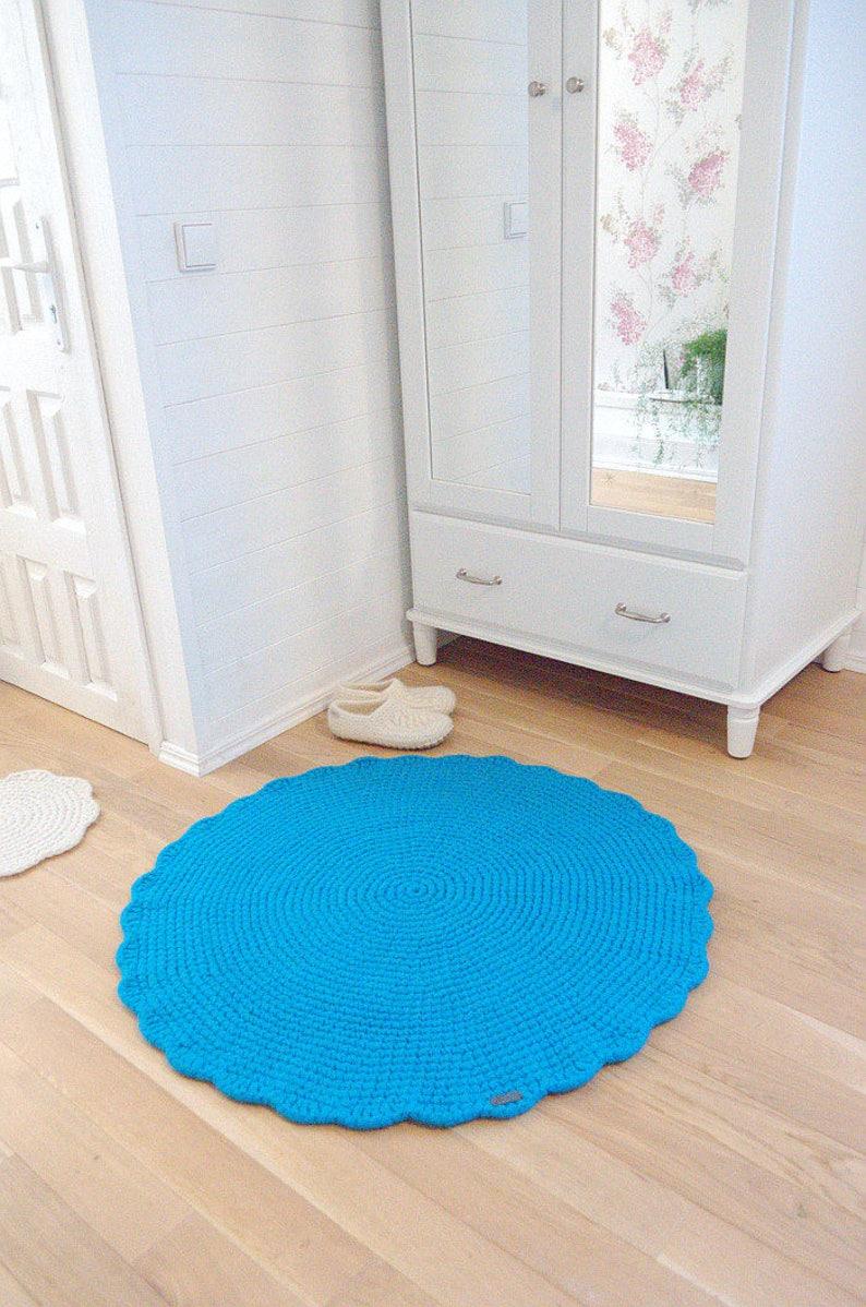 Torquois Teppich Runden häkeln Wolle Teppich Kinderzimmer | Etsy