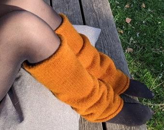 Felt wool leg warmers camel brown orrange - Knit felt leg warmers womens 100% wool