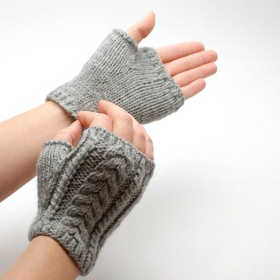Tejer mitones cortos de lana orgánica Cable tejer mitones | Etsy
