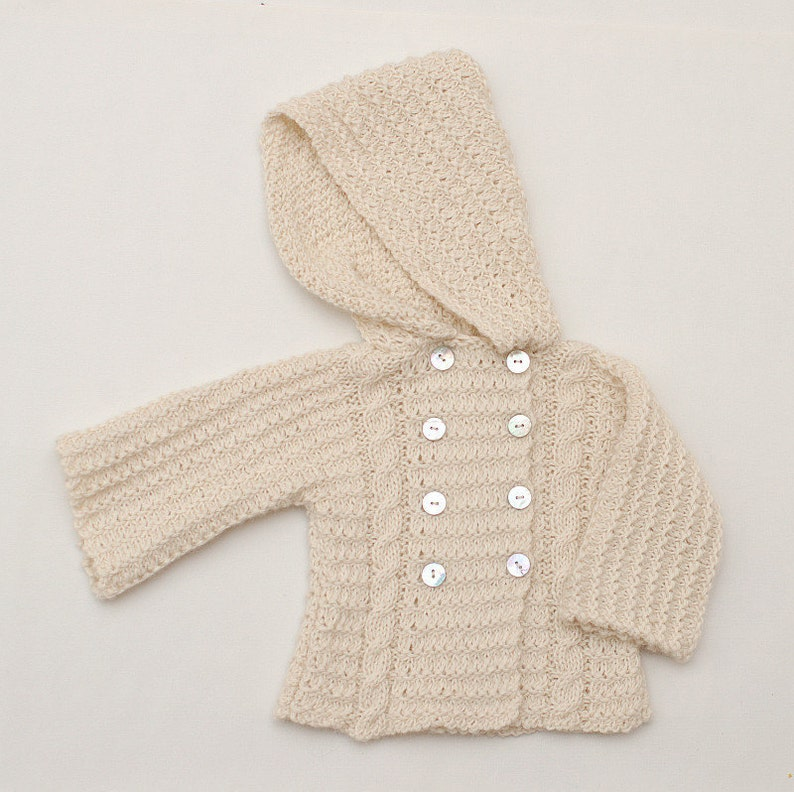 91a967f41239 Baby Alpaca hooded cable knit cardigan Hand knit Baby Coat