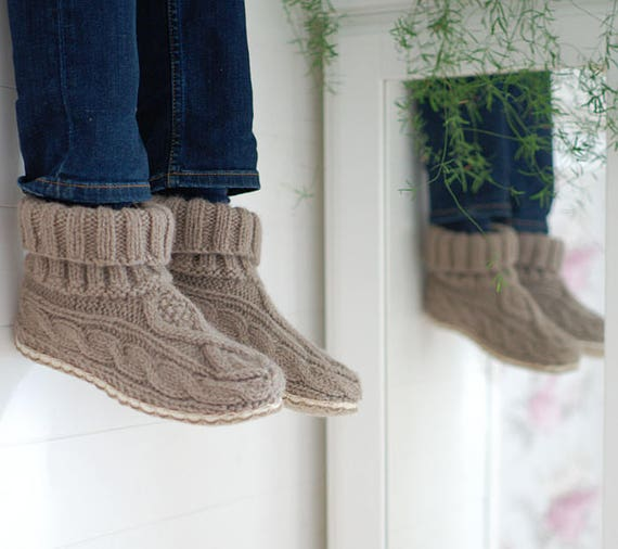 Tricot chaussons avec semelle câble de de de laine 100 % tricot - chausson tricoté à la main chaussettes de laine feutrée et semelles en lin - après ski bottes | La Reine De La Qualité  683262
