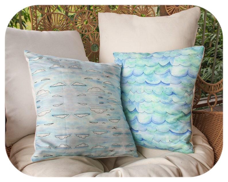 SALE  Watercolour Waves Cushion Cover