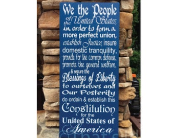 We the People, hand painted, wood sign, US Constitution, Preamble, patriotic sign, housewarming gift