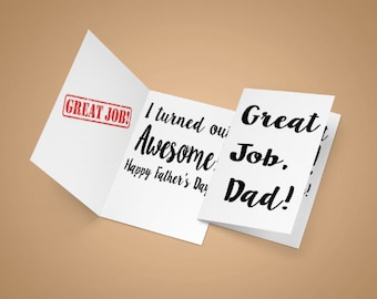 Fathers Day card, great job dad, dad card, great job, fathers day
