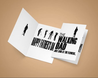 Fathers Day card, walking dad, dad cards, walking dead,