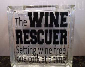 wine cork holder, glass block cork collector, the Wine Rescuer, Christmas gift, wine drinker, housewarming gift, birthday gift