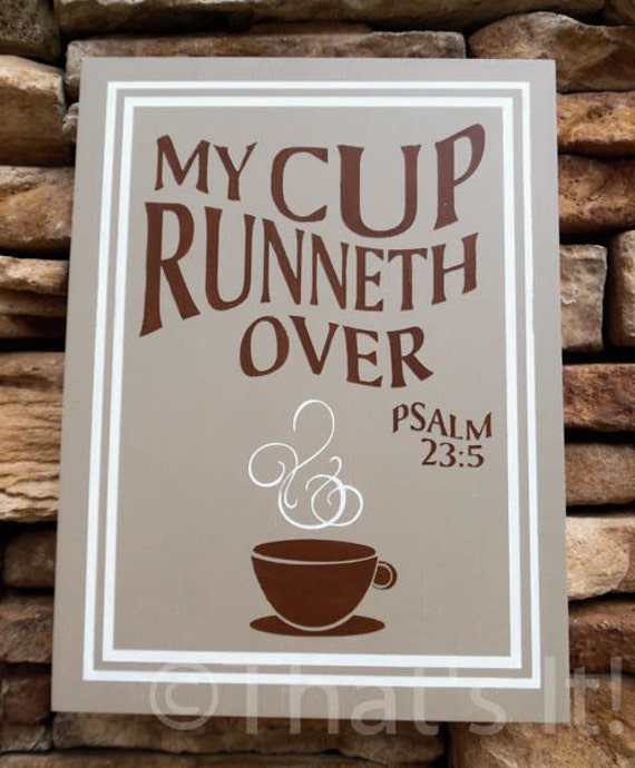 """/""""My Cup Runneth Over/"""" 22/"""" x 7/"""" Wood Wall Decor with Hooks"""